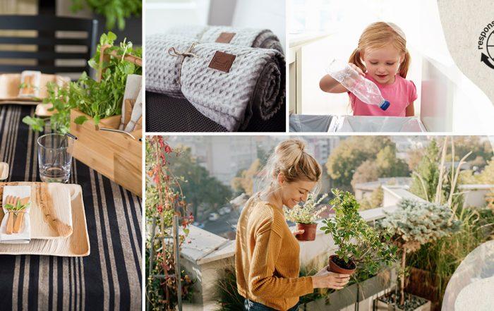 Kuvakollaasi, jossa kattaus, vilttejä rullalla, pulloa kierrätävä lapsi ja nainen parvekkeella kasvien ympäröimänä.