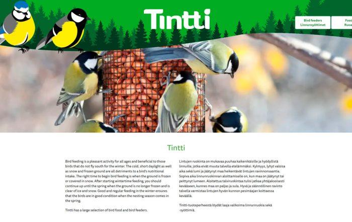 Tintti-verkkosivujen etusivu.