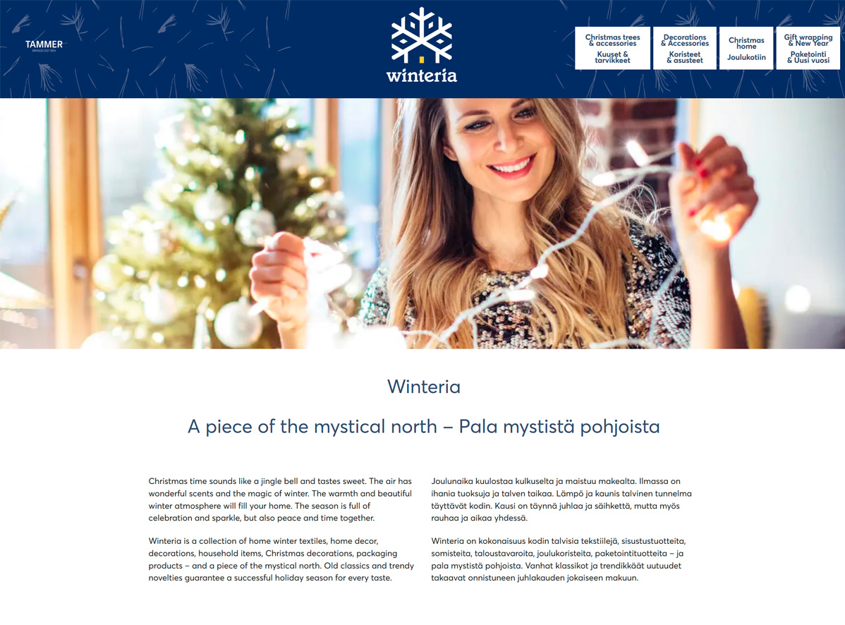Kuva Winteria-verkkosivujen etusivusta.