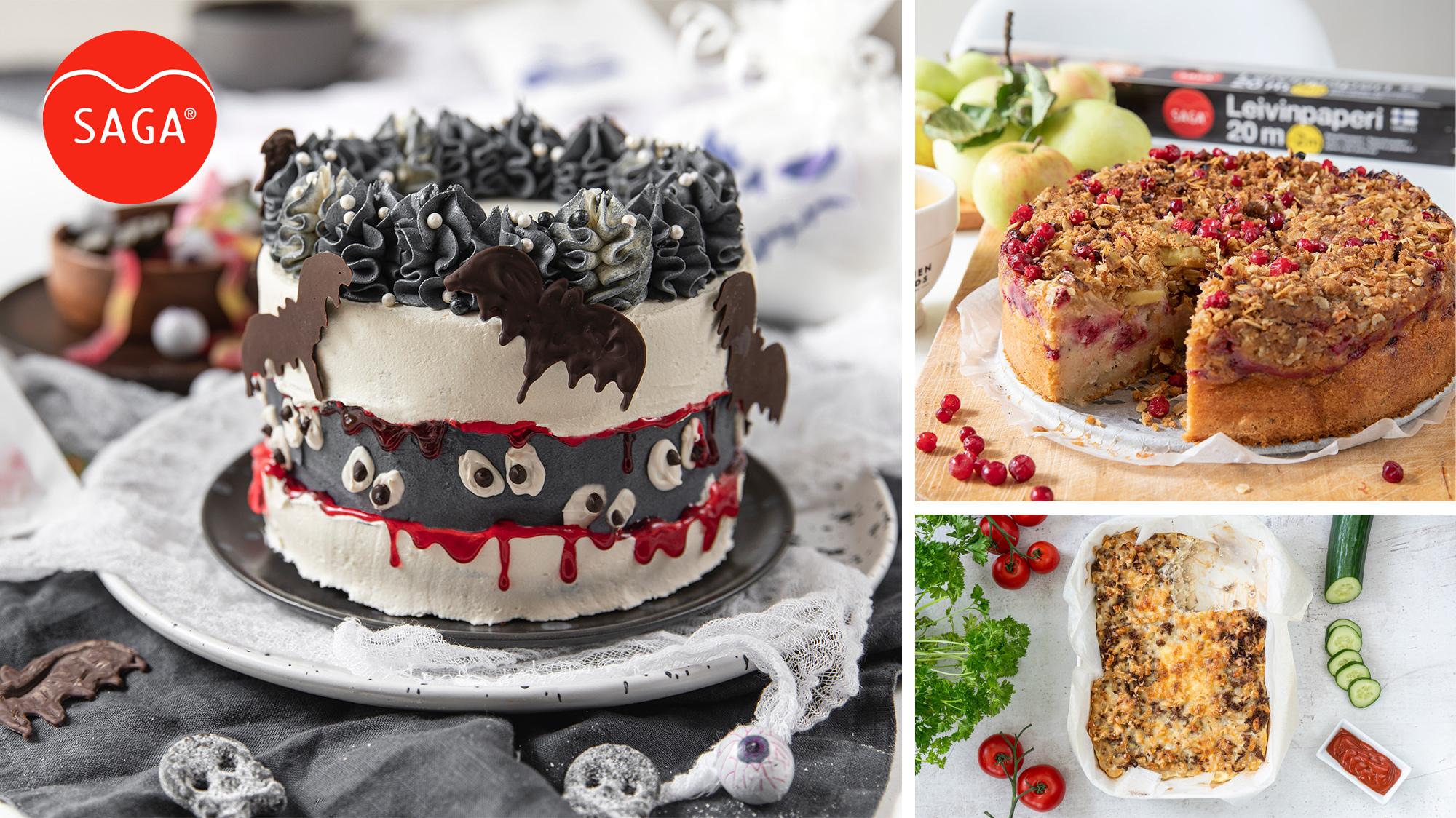Kuvia Halloween-kakusta, puolukkakakusta ja makaronilaatikosta.